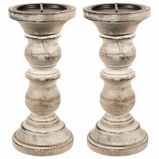 2 x 23cm Round Carved Wooden Candle Sticks Holders Vintage Pillar Rustic Church