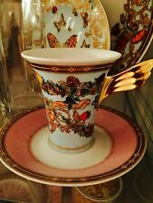 VERSACE LE JARDIN CUP SAUCER SET coffee tea LIGHT BLUE NEW Retail $300