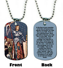 DOG TAG NECKLACE - Prayer to St. Joan of Arc Cross Christian Religious God Jesus