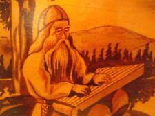 Vintage Wooden Scandinavian Scrap Book, Viking Scenery, 1947