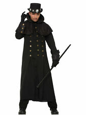 WIZARD WARLOCK COAT WITCH BLACK TRENCH COAT ADULT SIZE FOR HALLOWEEN PARTY