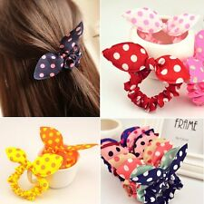 Animal Bunny Ear Dot Scrunchie Hair Ring Band Elastic Bun Ponytail Holder 10 Pcs