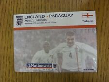 17/04/2002 Ticket: England v Paraguay [At Liverpool] (light fold).  We are pleas