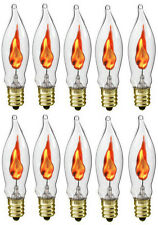 Box of 10 Flicker Flame Light Bulbs, E12 Candelabra Base, 3 watt (#A101)
