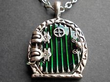 Hobbit Green Fairy Bilbo Door Pendant LOTR Locket necklace opens Silver tone