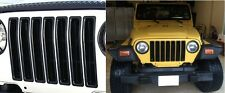 Black 7pc Grill Inserts Kit For 1997-2006 Jeep Wrangler TJ New Free Shipping