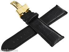 King Master 24mm Black Embossed Croc Leather Gold- tone Buckle Watch Band Strap
