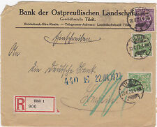 Registered German 1923 Inflation cover Tilsit to Berlin. Perfin stamps in use.