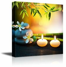 "Canvas Prints Wall Art - Relaxing Spa with Zen Stones, Burning Candles-16"" x 16"""