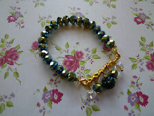 Ladies Green and Gold Beaded Bracelet Brand New Jewellery Beads Present Gift