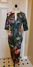 TED BAKER LONDON Peacock feather floral short sleeve midi dress 0 ( 2 US)