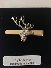 A21 Stag's Head  English Pewter emblem on a Tie Clip (slide)
