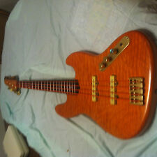 Custom Maple Quilted Tangerine Nitro Jazz Bass With Exotic Zebrawood Neck