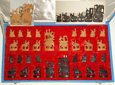 ANTIQUE INDIA SANDALWOOD EBONY FIGURAL CHESS SET HAND CARVED WOOD 32 p BOX 1920s