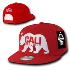 Red California Cali Republic Bear Gomdori Snapback Snap Back Cap Caps Hat Hats