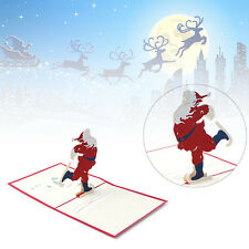 Origami Handmade 3D Greeting Card Merry Christmas Santa Claus Skating Pop Up