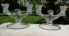 PAIR of Vintage Pressed Glass 2 Arm Candelabra Double Candlestick Holders