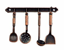 Dolls House Wall Hanging Utensil Set & Rack Aged Copper Kitchen Accessory