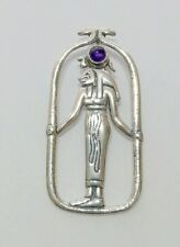 Egyptian Jewelry Lion Goddess Sekhmet Pendant with Amethyst Stone Sterling #P55A