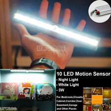 Wireless 10 LED Light Bar Battery Operated Motion Sensor Detector Night Light