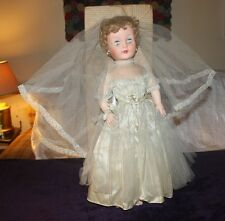 "VTG. 25"" bride doll-silver/white gown & veil-w/ millinery flowers-good cond."