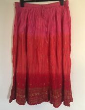Phool Pink Red Gold Dip Dye Ombré Maxi Skirt Gorgeous Size 16 18 Hippy Boho