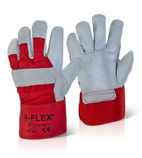 5 Pairs Tough Heavy Duty Work Wear Safety Double Palm Canadian Red Rigger Gloves