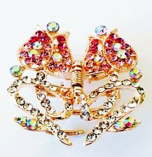USA HAIR CLAW Clip Rhinestone Crystal Hairpin Butterfly Bowknot Gold Pink 04