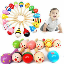 2X Wooden Maraca Wood Rattles Kids Musical Party favor Child Baby shaker Toy Hot
