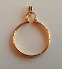Gold Plated Coin Cinch/ Holder/Mount for Jewellery/ Necklaces/ Keyring New