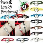 Hippy Silver CND Peace Friendship Wish Bracelet Love Hope Happiness Karma Boho