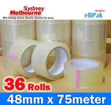 36 Roll - 45 Micron Clear - Packing Packaging Sticky Tape 75 Meter x 48mm - 45U