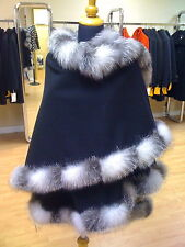 Black Cashmere Wool poncho/ cape / wrap with SILVER INDIGO fox fur