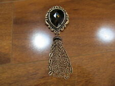 Chico's Harmony Pin Brooch  Gold Tone with Brown Glass Jewel & Gold Chain Tassel
