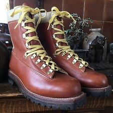 MONTBLANC VTG 70s Shearling Brown Leather Winter Snow Hiking Boots Men 10 D NR