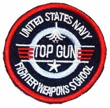 LARGE TOP GUN PATCH round embroidered cotton iron on 1980 film badge US Airforce