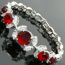Red Cubic Zirconia Ruby Crystal Flower White Gold Plated Link Clasp Bracelet