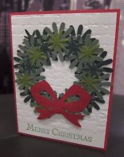"Stampin Up ""Merry Christmas"" Wreath Paper Piecing brick embossed Handmade Card"