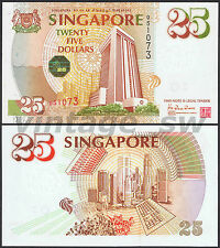1996 SINGAPORE MAS 25TH ANNIVERSARY $25.00 HTT 051073 P-33 UNC (CHEQUE BOOK)