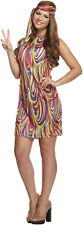 Ladies Groovy Girl Fancy Dress Hippy Hippie Costume Womens 1970s 1960s