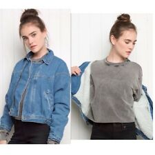 Brandy Melville cropped sherpa Lined Isabelle fur denim Jacket NWOT