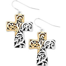 Cross Fashionable Earrings - Vine Filigree - Fish Hook - Silver & Gold Plated