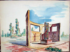 Acquerello '900 su carta Watercolor Architettura futurista cubista razionale-30