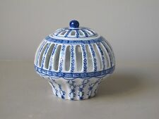 """Vintage Chinese Blue and White Reticulated Porcelain Jar / Vase and Cover 4.5"""""""