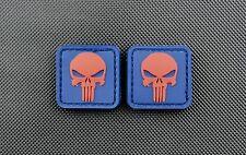 3D PVC Punisher Skull Patches Red Blue Morale Patch VELCRO® Brand Hook Backing