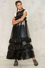 NASTY GAL COLLECTION MOONLIGHT MILE RUFFLE DRESS XSMALL black