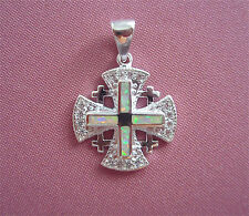 Jerusalem Cross in Sterling Silver 925 with Opal Pendant Christian Faith Jewelry