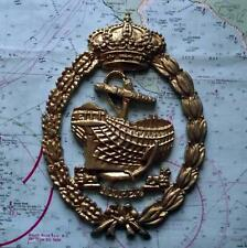 Old Spanish Navy Metal Plaque Tampion Crest : Anchor & Ship