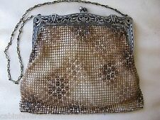 Antique Art Deco Silver T Filigree Frame Snake Skin Enamel Chain Mail Purse USA