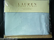 NIP-$142 RALPH LAUREN GEORGICA GARDEN KING FLAT SHEET BLUE GINGHAM COTTON